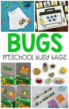 Bug and insect themed busy bags are the best and motivating way to keep preschoolers occupied while learning with reusable activities!