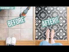 Learn how to paint tile floors with a stencil with my step by step DIY tutorial. Get the look of farmhouse cement tile on a budget! Painting Bathroom Tiles, Tile Bedroom, Painting Ceramic Tiles, Painting Tile Floors, Tiled Floors, Porcelain Tile, Stencil Diy, Stencil Painting, Stenciling