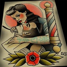 Rockabilly Barbering Tattoo Print by Quyen Dinh Dessin Old School, Barber Tattoo, Barber Logo, Rockabilly, Dibujos Tattoo, Tatuagem Old School, Victory Rolls, Neo Traditional Tattoo, American Traditional