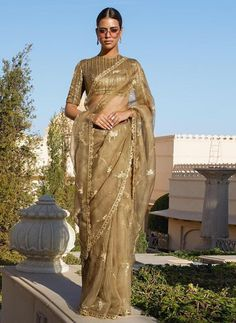 Excited to share this item from my shop: VeroniQ Trends-Partywear Saree in Organza Silk, Banarasi Silk Blouse,Gold Embroidered Saree, Wedding Saree,Designer Saree-VF Lace Saree, Organza Saree, Saree Blouse Patterns, Saree Blouse Designs, Sabyasachi Sarees, Lehenga Choli, Indian Wedding Outfits, Indian Outfits, Desi Wedding