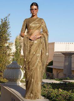 Excited to share this item from my shop: VeroniQ Trends-Partywear Saree in Organza Silk, Banarasi Silk Blouse,Gold Embroidered Saree, Wedding Saree,Designer Saree-VF Saree Blouse Patterns, Saree Blouse Designs, Sabyasachi Sarees, Lehenga, Indian Wedding Outfits, Indian Outfits, Designer Sarees Wedding, Lace Saree, Desi Wedding