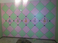 Checkered Disney princess theme babygirl nursery