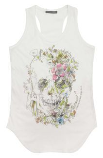 Floral Skull Vest  -Alexander McQueen  Paired with leather leggings, heels and layered bracelets. Would ROCK!!