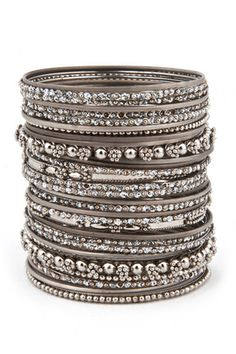 Cara Accessories The More the Merrier Bangle Set - Available in both gold and silver Bridal Bangles, Silver Bangles, Silver Jewelry, Bangle Set, Bangle Bracelets, Jewelry Accessories, Jewelry Design, Piercing, Oxidised Jewellery