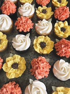 Autumn Buttercream Flower Cupcakes Sunflowers, Hydrangeas, and Roses inspired by fall colors on cupcakes! Autumn Buttercream Flower Cupcakes Sunflowers, Hydrangeas, and Roses inspired by fall colors on cupcakes! Daisy Cupcakes, Sunflower Cupcakes, Spring Cupcakes, Hydrangea Cupcakes, Garden Cupcakes, Floral Cupcakes, Themed Cupcakes, Buttercream Decorating, Cake Decorating