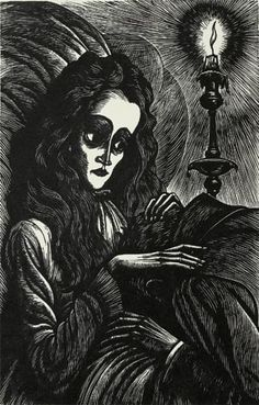Fritz Eichenberg. Ligelia. From <u>The Tales Of Edgar Allan Poe</u>.<br>Wood Engraving, 1944, Signed in pencil. Sheet: 10-5/8 x 7-3/8 inches. 30518