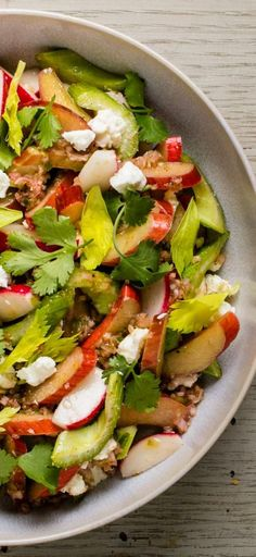 Rhubarb, Celery, and Radish Salad with Feta and Cilantro. There's more to rhubarb than pies, cobblers, jams, or even soda.