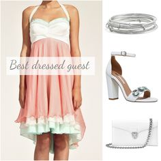 Need to outshine all of the other guests at the next wedding? Add a bit of fun and flirtatiousness to your stride with the Zuzana Veselá cake dress! We've paired our silk dress with the ever stylish Aspinal of London handbag, CARAT* shoes and kate spade new york bangles. #weddinggest #whattowear #weddingweek