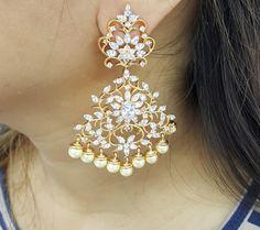 Gold Jewelry Buyers Near Me Diamond Earrings Indian, Indian Jewelry Earrings, Indian Wedding Jewelry, Jewelery, Silver Jewelry, Cz Jewellery, Gold Earrings, 925 Silver, Silver Ring