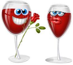Liebes Wein mit Smiley