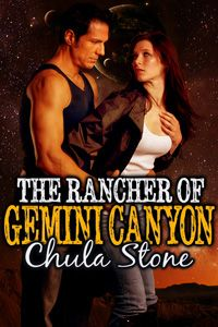 The Rancher of Gemini Canyon by Chula Stone http://www.stormynightpublications.com/rancher-gemini-canyon-chula-stone/ Publisher's Note: The Rancher of Gemini Canyon contains spankings of an adult woman, including domestic discipline in a futuristic setting. If such material offends you, please don't buy this book.