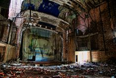 The ruins of the Palace Theater in Gary, Indiana. This theater was popular 1930s-1960s, and closed in the mid-1970s. It stands today, empty and decaying over 40 years later.    Order a print!  http://smu.gs/VOVLWR