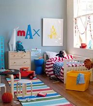 Toddler boys room - name in diff letters