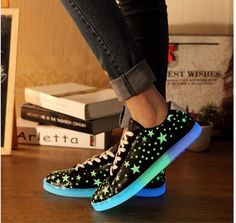 2015 lovers led luminous shoes Fashion star pattern low top light up  sneakers for adults men 2de2e64e9