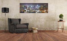 Arreda con New York Skyline at Night prodotto stampato in digitale ad alta definizione su tela, rifinita con telaio in legno spessore 2cm.