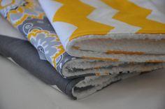 Baby Burp Cloths Set of Three  Yellow/Grey Burp by Sari Rose Baby, $22.00