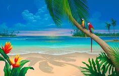 Beach Painting_Another Perfect Day Seascape Paradise Painting, Beach Scene Painting, Beach Mural, Beach Art, Beach Wall Decor, Sunset Beach, Fantasy Paintings, Seascape Paintings, Beach Paintings