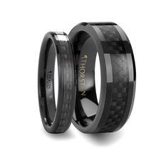 Matching Rings Set Black Carbon Fiber Inlaid Black Ceramic Anniversary Band - 4mm & 8mm