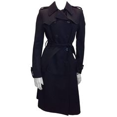 Preowned Balenciaga Black Wool Trench Coat (23,085 EGP) ❤ liked on Polyvore featuring outerwear, coats, black, trench coats, wool trench coats, woolen trench coat, wool coat, balenciaga coat and trench coat
