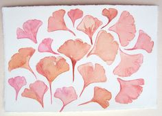 Watercolor paintings original- Flying Ginkgo leaves/ Small watercolors 7,5 by 11/ Coral peach leaves illustration/ Nature painting