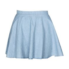 FROM A VIEW Blue Circle Skirt in Chambray (€60) ❤ liked on Polyvore featuring skirts, bottoms, saias, chambray skater skirt, circle skirt, skater skirt, blue knee length skirt and flared skirt