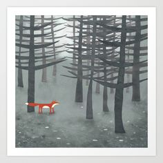 The Fox and the Forest Art Print by Squirrell   Society6