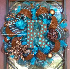 Fall Turquoise and Brown Leopard Print Deco Mesh