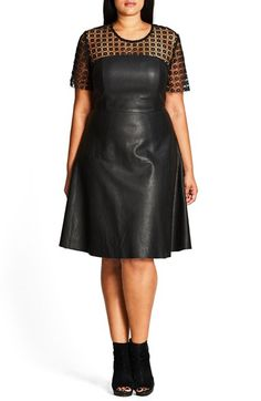 Free shipping and returns on City Chic Tres Chic Lace & Faux Leather Dress (Plus Size) at Nordstrom.com. Sheer floral lace offers delicate contrast to rugged faux-leather for a modern iteration of a classic fit-and-flare dress.