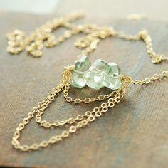Green Amethyst Gold Necklace Slinky Gemstone Amethyst by aubepine, $48.00