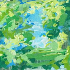 Springtime Meadow 12x12  abstract landscape print by CortneyNorth, $35.00 ... Inspired by the bold, vivid colors of late spring, this painting has a palette of cerulean blue and lively green.