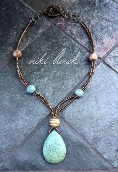 Such a stunning gemstone pendant with gaea ceramic beads and seed beads. -Niki Black. #cbloggers #jewelryinspo #jewelrymaking