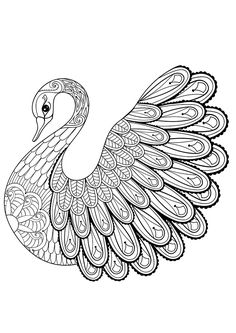 Adult Bird Coloring Pages Best Of Hand Drawing Artistic Swan for Adult Coloring Pages In Bird Coloring Pages, Mandala Coloring, Printable Coloring Pages, Coloring Pages For Kids, Coloring Books, Tier Doodles, Art Quilling, Animal Doodles, Zentangle Drawings