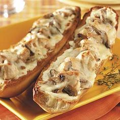 """Chicken Alfredo Stromboli Recipe -""""I combined my favorite fettuccine Alfredo recipe with the chicken Alfredo pizza from a restaurant and came up with this filling, open-faced sandwich,"""" shares Tracy Haven of Henryville, Indiana. Chicken Recipes For Two, Turkey Recipes, Steak Recipes, Cooking For Two, Meals For Two, Italian Dishes, Italian Recipes, Chicken Alfredo Pizza, Stromboli Recipe"""