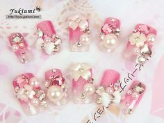 Crystal Flowers Deco Nails
