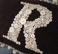 Personalized Vintage Mother of Pearl Button Monogram Pillow  -- Now 20% Off -- by Letter Perfect Designs. $70.00, via Etsy.
