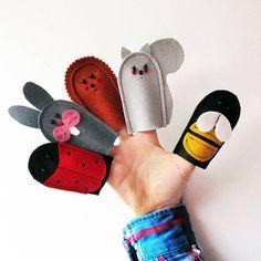 Five Felt Wildlife Finger Puppets bee ladybird rabbit squirrel hedgehog