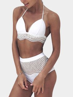 Here is fashion swimwear for you. Basic of bodysuit, featuring halter, sleeveless, lace-up design, lace details and high waist, , the swimwear can be fit in beach and make you more elegant.