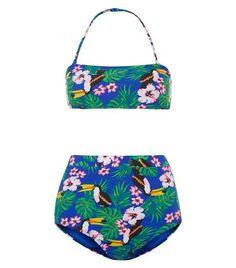 Teens Blue Floral and Bird Print Bandeau and High Waisted Bikini | New Look