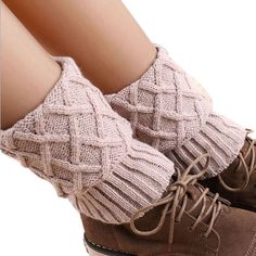 Leg Warmers Diamond Mesh Short Paragraph Turned Mouth Knitted Cuffs Gaiters Calentadores Piernas Mujer #2456