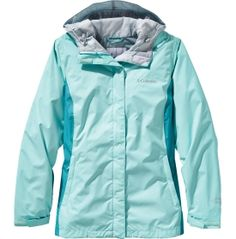 Columbia Women's Arcadia II Rain Jacket - Ocean Water/Miami   Waterproof, breathable & packable.  Features an Omni-Tech™ membrane w/ full seam sealing & mesh lining to keep you dry both on the exterior & interior.  •Attached, adjustable storm hood •Drawcord adjustable hem •Zippered hand pockets •Packable into hand pocket •Center Back Length: 26 in •Fabric: 100% Nylon •Style: RL2436  Reg. $90; on Sale $59.99