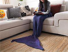 "Casofu® Mermaid Tail Blanket Adult/Teen Tails, All Seasons Knitted Seatail Blanket, Sleeping Bag Sofa Bed Snuggle Mermaid Light Blue 55""x24"""
