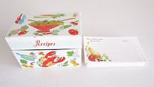 Vintage tin recipe box w/ Lobster from Ohio Art w/ recipe cards Kitchen Kitsch