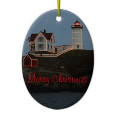 Merry Christmas from Maine Double-Sided Oval Ceramic Christmas Ornament