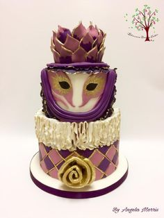 Venetian Carnival Cakers Collaboration - Cake by Blossom Dream Cakes - Angela Morris Masquerade Cakes, Masquerade Wedding, Beautiful Cakes, Amazing Cakes, Carnival Cakes, Cake Cookies, Cupcakes, Ruffle Cake, Dream Cake