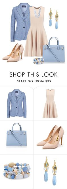 """Beige & Skyblue"" by bla-bla-moda ❤ liked on Polyvore featuring Armani Jeans, Michael Kors, Kurt Geiger, Rupert Sanderson, Chico's, Anthony by Anthony Camargo, INC International Concepts, women's clothing, women and female"