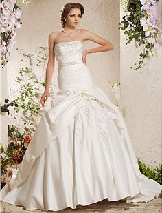 Wedding Dress Ball Gown Chapel Train Satin Strapless With Beading Appliques  Easebuy! Free Measurement!