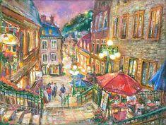 "Early Lights. Quebec City. Du Petit Champlain. Evening, Sunset. 12x12"" - Oil on Canvas Painting by Ottawa Artist Elena Khomoutova"