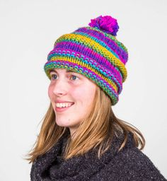 Knitted Adult Hat with Pom Pom- Purple,  Pink, Yellow, Green, And Tourqoise by FluttersofaDragonfly on Etsy