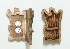 Old Tree Shaped Fixture Door - Outlet, Lightswitch, Fairy Door, Fantasy Decor, Rustic, Distressed Wood, Outlet Cover, Unique Home Decor