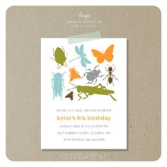 bugs - insects : birthday party invitation set on Etsy, $16.75